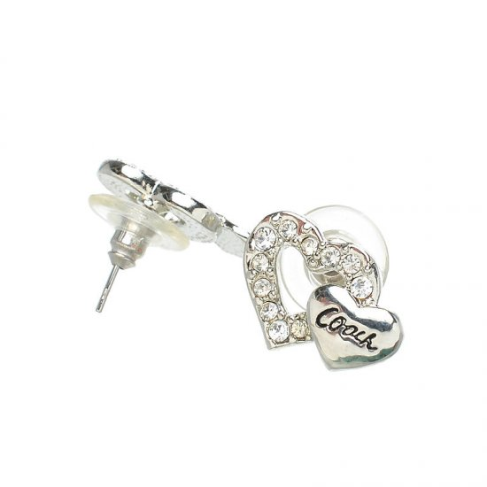 Coach Double Heart Silver Earrings AKD