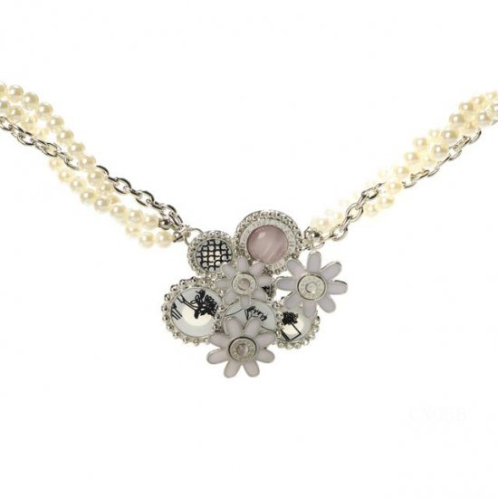 Coach Flower Pearl Silver Necklaces CZH