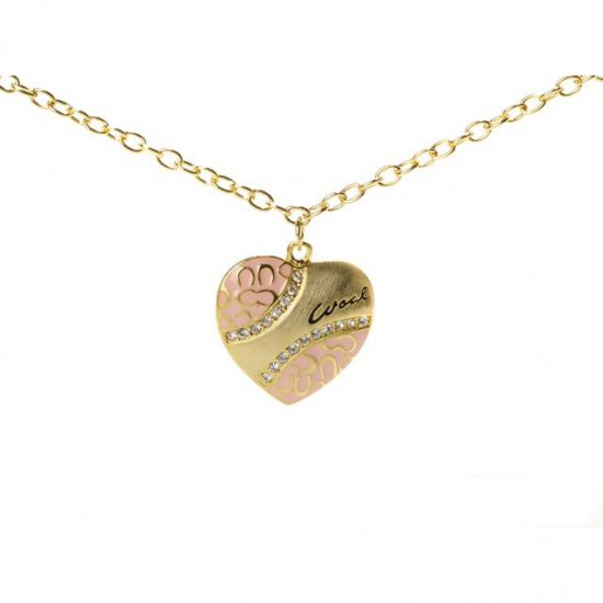 Coach Love Heart Pink Necklaces ALN