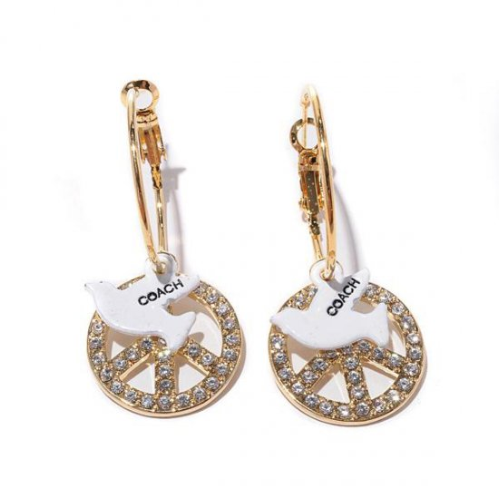 Coach Pigeon Logo Gold Earrings BID