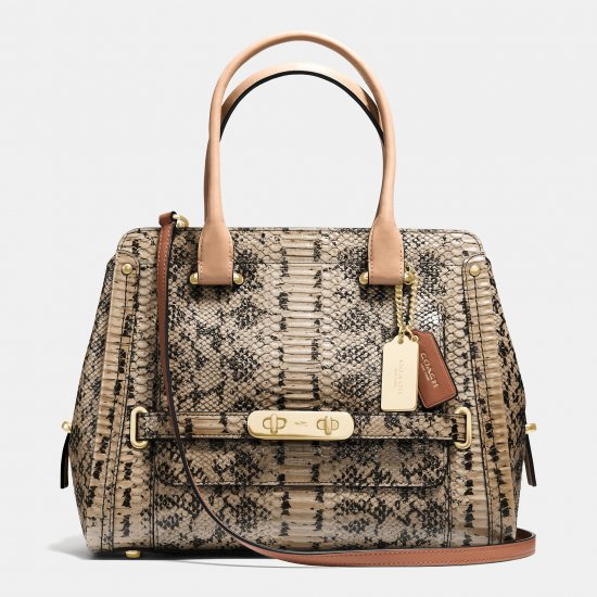 COACH SWAGGER FRAME SATCHEL IN COLORBLOCK EXOTIC