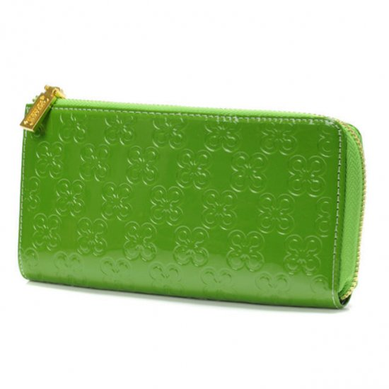 Coach Accordion Zip Large Green Wallets DVD