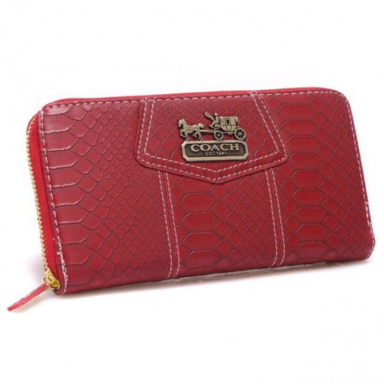 Coach Accordion Zip In Croc Embossed Large Red Wallets CCL
