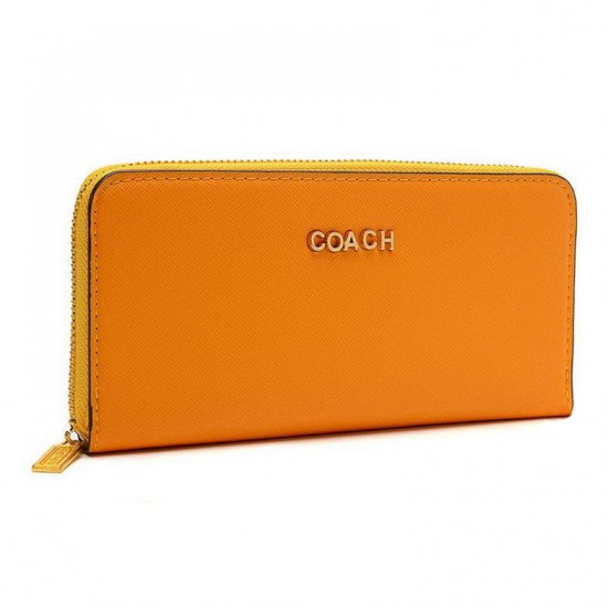Coach Accordion Zip In Saffiano Large Orange Wallets EUP