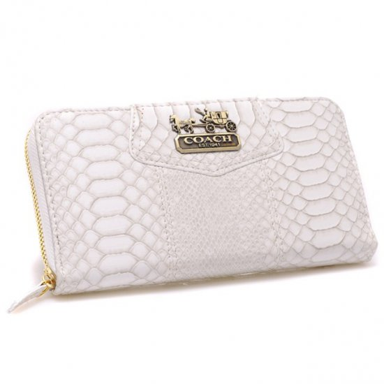 Coach Accordion Zip In Croc Embossed Large White Wallets CCN