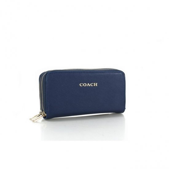 Coach Double Zip In Saffiano Small Navy Wallets FFR
