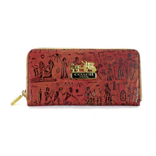 Coach Egyptian Wall Painting Large Red Wallets EDU