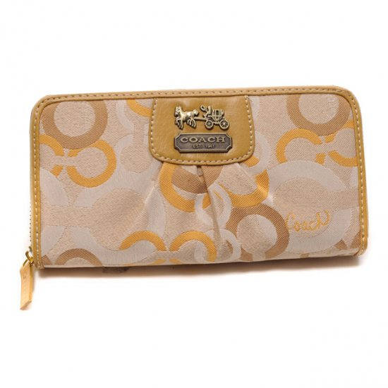 Coach Fashion Logo Large Yellow Wallets DUA