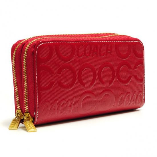 Coach In Signature Large Red Wallets ARY
