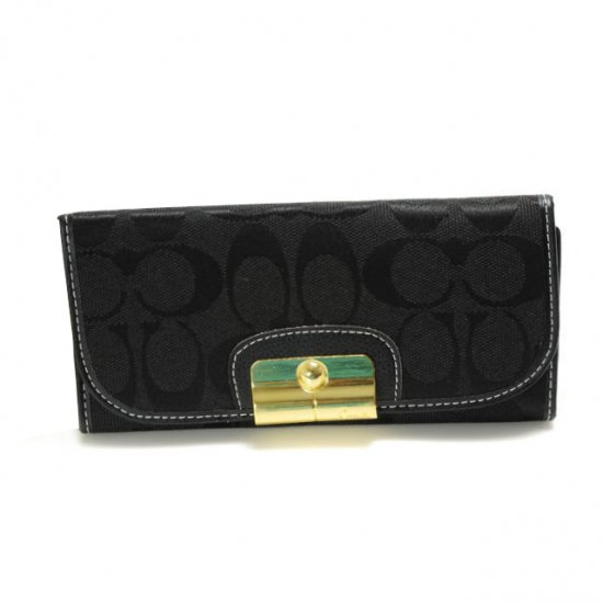 Coach Kristin In Signature Large Black Wallets DVK