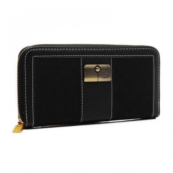 Coach Kristin Lock In Signature Large Black Wallets ETG