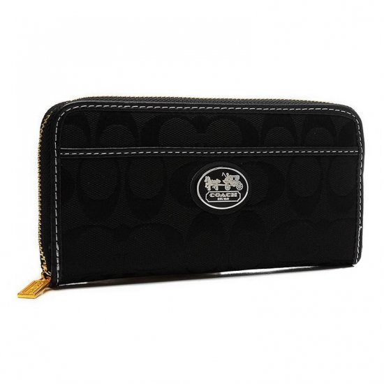 Coach Legacy Accordion Zip In Signature Large Black Wallets EVA