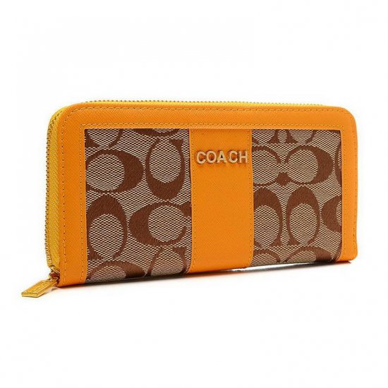 Coach Legacy Accordion Zip Large Yellow Wallets ETR