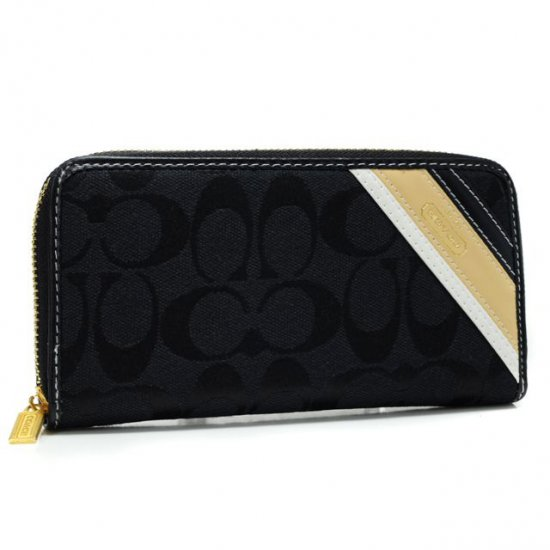 Coach Legacy Stripe In Signature Large Black Wallets AHE