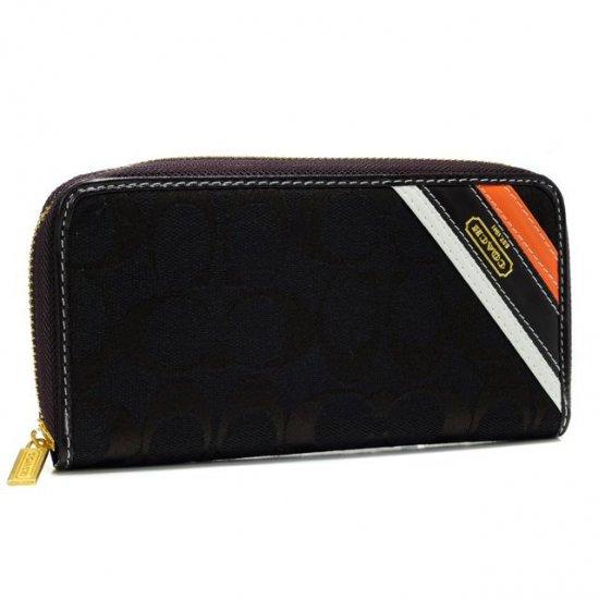 Coach Legacy Stripe In Signature Large Coffee Wallets AHG