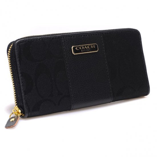 Coach Logo In Signature Large Black Wallets CHY