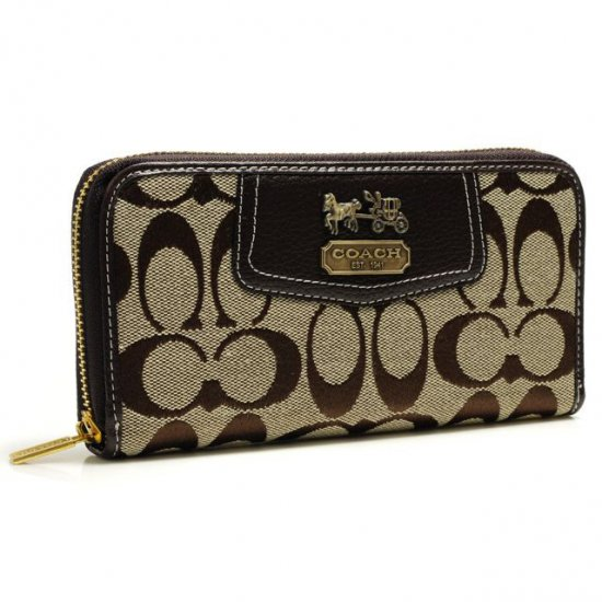 Coach Logo In Signature Large Coffee Wallets BFX