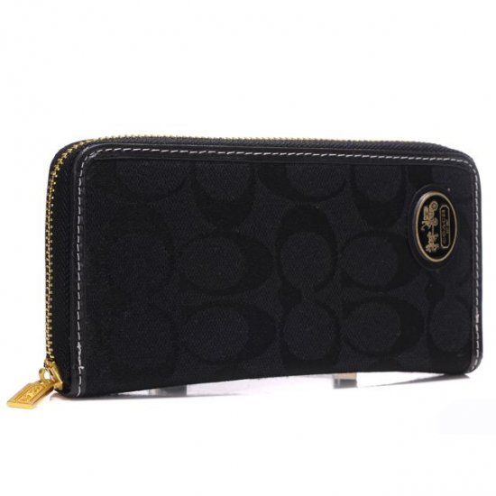 Coach Logo Large Black Wallets ARN