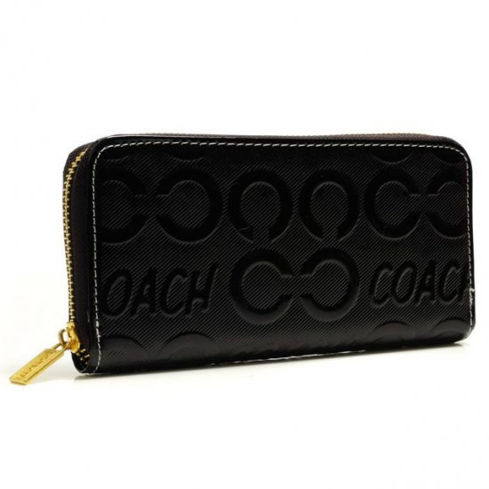 Coach Logo Large Black Wallets BCU