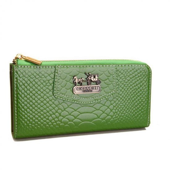 Coach Madison Continental Zip In Croc Embossed Large Green Wallets AGG