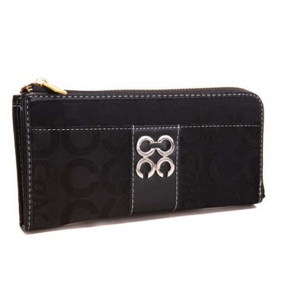 Coach Madison Accordion Zip In Signature Large Black Wallets AGM
