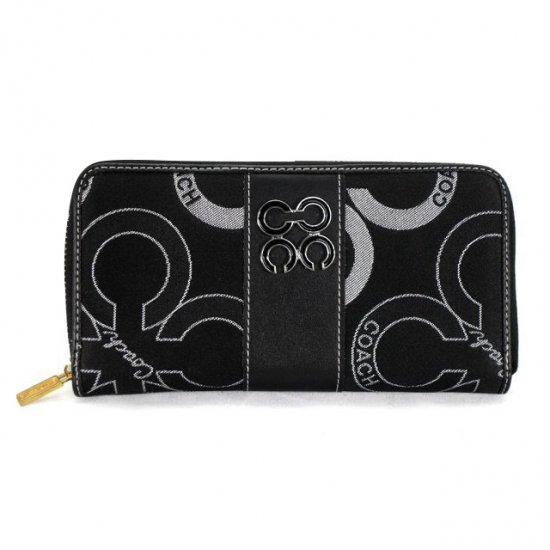Coach Waverly Flower Charm Large Black Wallets EEL
