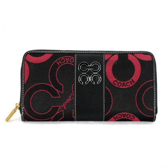 Coach Waverly Flower Charm Large Red Black Wallets EEJ