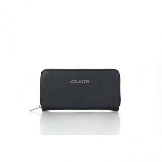 Coach Zip In Saffiano Small Black Wallets FFK