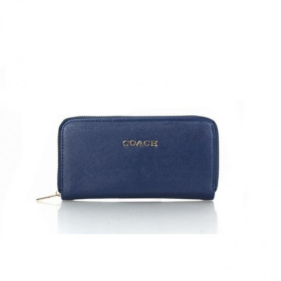 Coach Zip In Saffiano Small Navy Wallets FFG