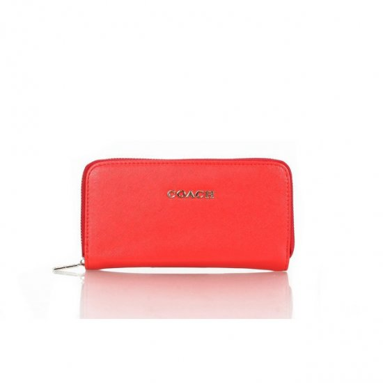 Coach Zip In Saffiano Small Red Wallets FFJ