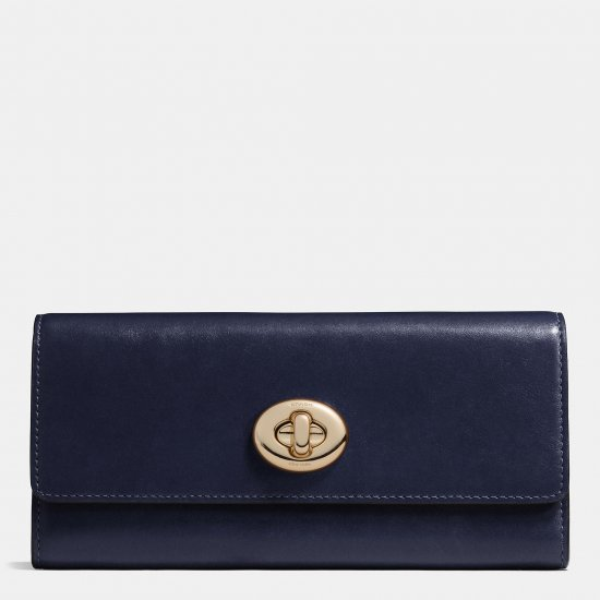 TURNLOCK SLIM ENVELOPE WALLET IN SMOOTH LEATHER